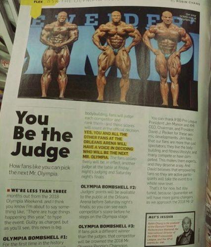 Стаття про зміни на Містер Олімпія 2018 у журналі Flex Magazine